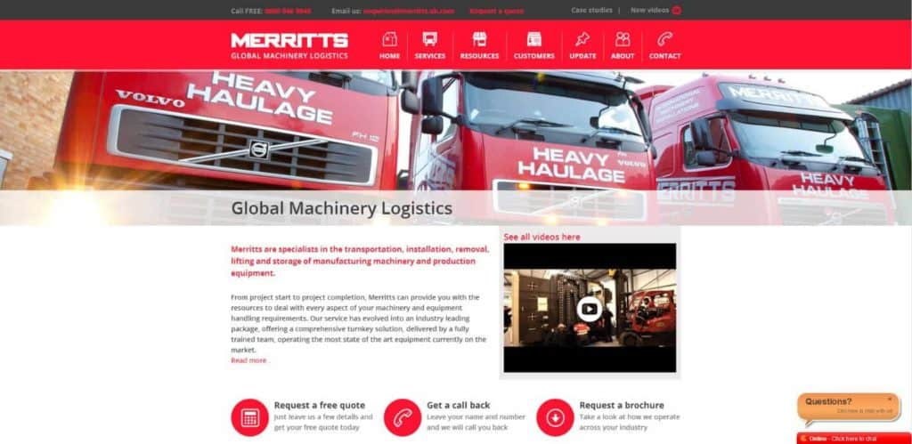 Home Page. Merritts Machinery Logistics